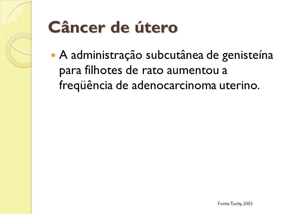 Câncer de útero A administração subcutânea de genisteína para filhotes de rato aumentou a freqüência de adenocarcinoma uterino. Fonte: Tuohy, 2003