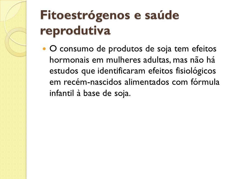 Fitoestrógenos e saúde reprodutiva O consumo de produtos de soja tem efeitos hormonais em mulheres adultas, mas não há estudos que identificaram efeit