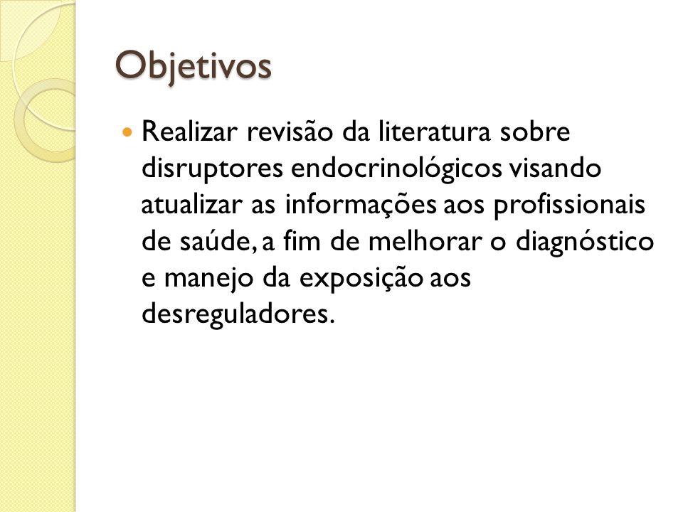Objetivos Realizar revisão da literatura sobre disruptores endocrinológicos visando atualizar as informações aos profissionais de saúde, a fim de melh