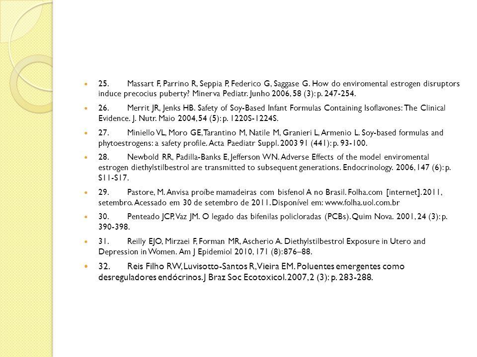 25.Massart F, Parrino R, Seppia P, Federico G, Saggase G. How do enviromental estrogen disruptors induce precocius puberty? Minerva Pediatr. Junho 200
