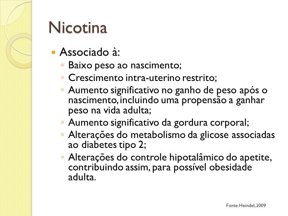 Nicotina Associado à: Baixo peso ao nascimento; Crescimento intra-uterino restrito; Aumento significativo no ganho de peso após o nascimento, incluind