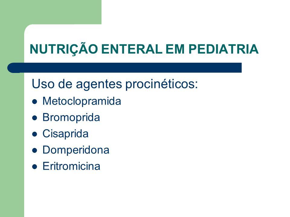 NUTRIÇÃO ENTERAL EM PEDIATRIA Uso de agentes procinéticos: Metoclopramida Bromoprida Cisaprida Domperidona Eritromicina