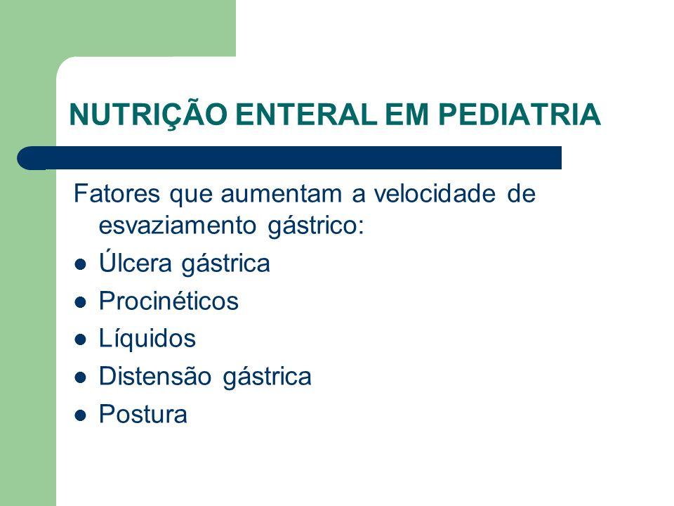 NUTRIÇÃO ENTERAL EM PEDIATRIA Fatores que aumentam a velocidade de esvaziamento gástrico: Úlcera gástrica Procinéticos Líquidos Distensão gástrica Postura