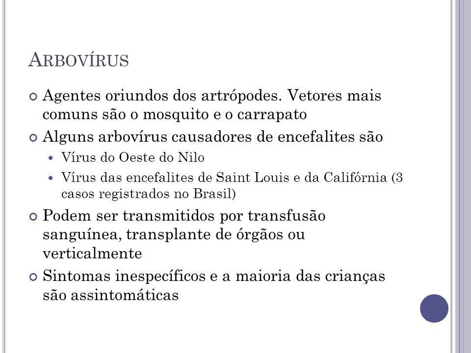 A RBOVÍRUS Agentes oriundos dos artrópodes. Vetores mais comuns são o mosquito e o carrapato Alguns arbovírus causadores de encefalites são Vírus do O