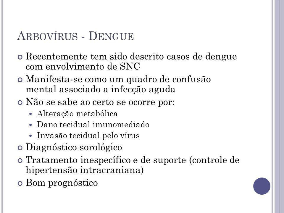 A RBOVÍRUS - D ENGUE Recentemente tem sido descrito casos de dengue com envolvimento de SNC Manifesta-se como um quadro de confusão mental associado a