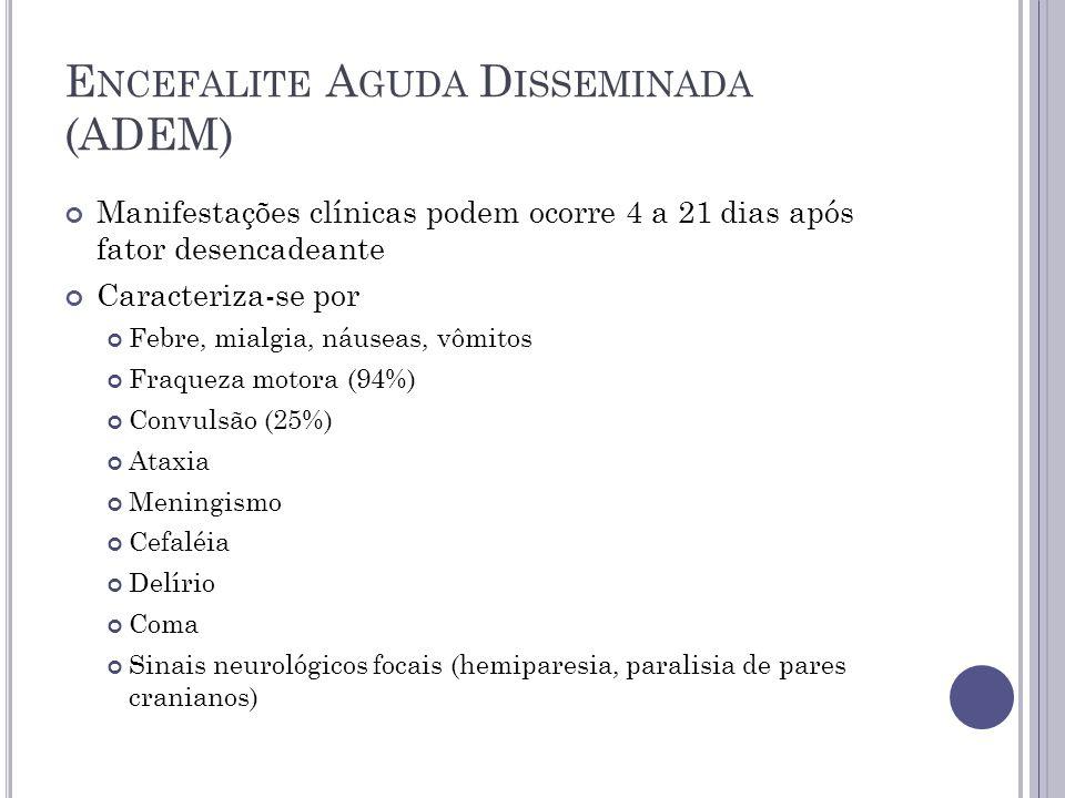 E NCEFALITE A GUDA D ISSEMINADA (ADEM) Manifestações clínicas podem ocorre 4 a 21 dias após fator desencadeante Caracteriza-se por Febre, mialgia, náu