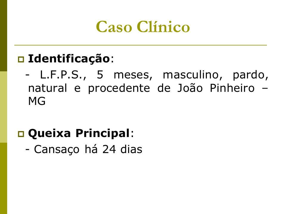 Caso Clínico Identificação: - L.F.P.S., 5 meses, masculino, pardo, natural e procedente de João Pinheiro – MG Queixa Principal: - Cansaço há 24 dias