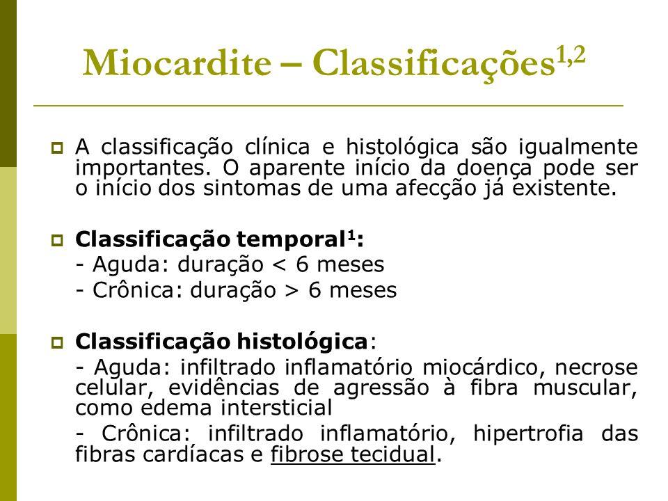 Miocardite – Classificações 1,2 A classificação clínica e histológica são igualmente importantes. O aparente início da doença pode ser o início dos si