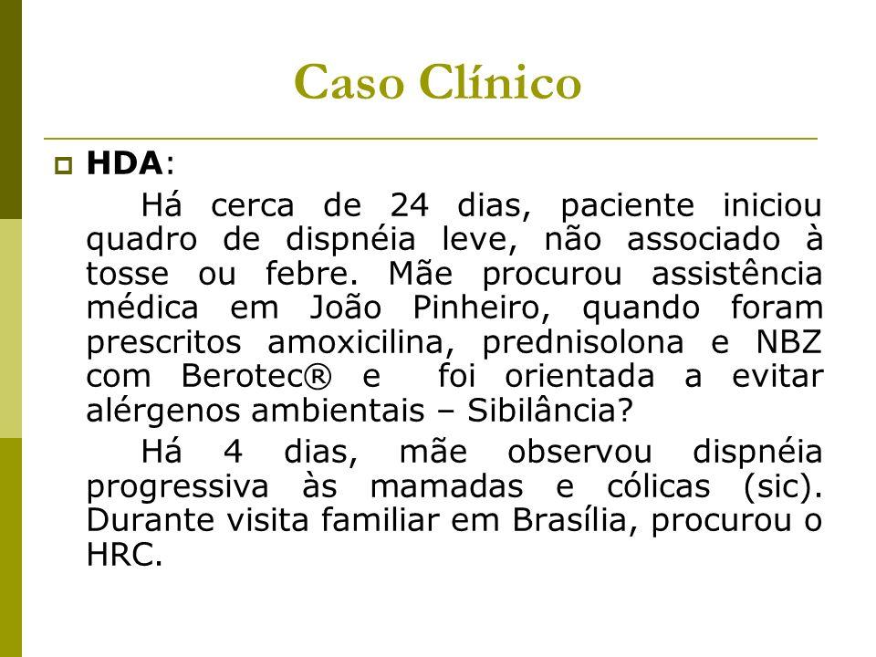 Caso Clínico HDA: Há cerca de 24 dias, paciente iniciou quadro de dispnéia leve, não associado à tosse ou febre. Mãe procurou assistência médica em Jo