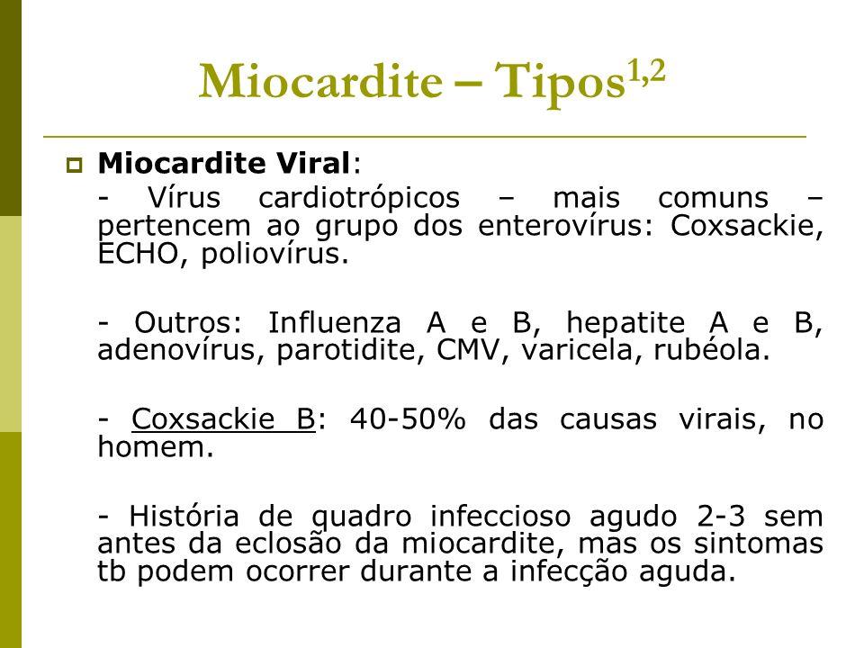 Miocardite – Tipos 1,2 Miocardite Viral: - Vírus cardiotrópicos – mais comuns – pertencem ao grupo dos enterovírus: Coxsackie, ECHO, poliovírus. - Out
