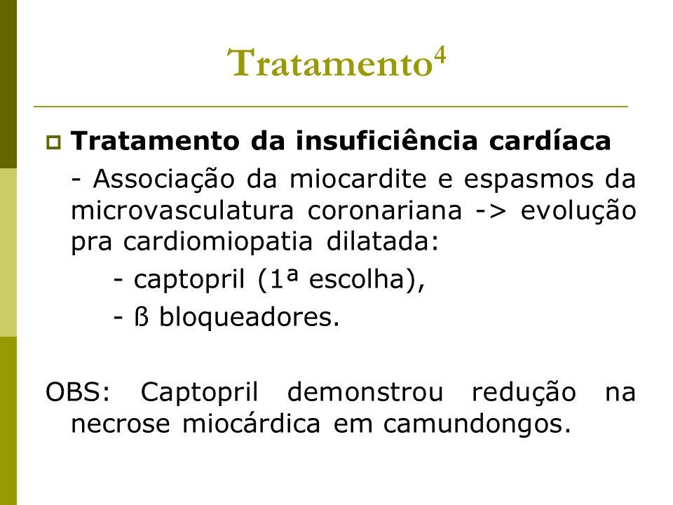Tratamento 4 Tratamento da insuficiência cardíaca - Associação da miocardite e espasmos da microvasculatura coronariana -> evolução pra cardiomiopatia