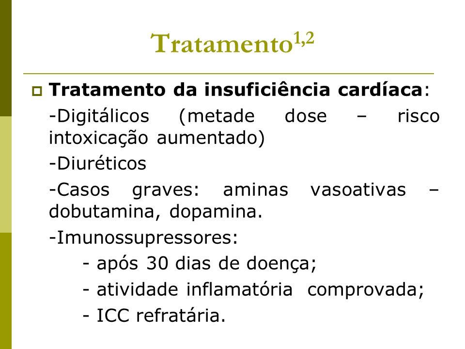 Tratamento 1,2 Tratamento da insuficiência cardíaca: -Digitálicos (metade dose – risco intoxicação aumentado) -Diuréticos -Casos graves: aminas vasoat