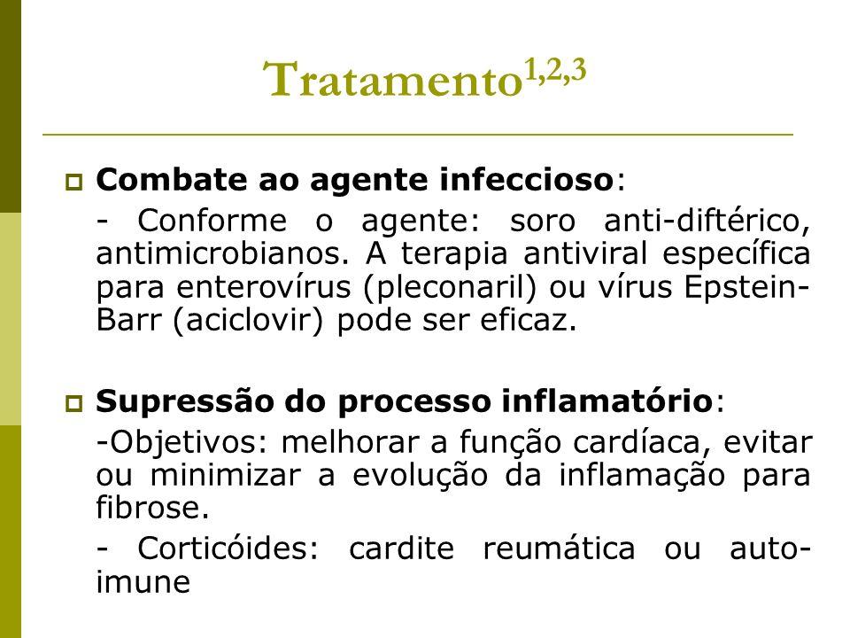 Tratamento 1,2,3 Combate ao agente infeccioso: - Conforme o agente: soro anti-diftérico, antimicrobianos. A terapia antiviral específica para enteroví