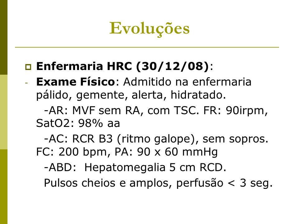 Evoluções Enfermaria HRC (30/12/08): - Exame Físico: Admitido na enfermaria pálido, gemente, alerta, hidratado. -AR: MVF sem RA, com TSC. FR: 90irpm,
