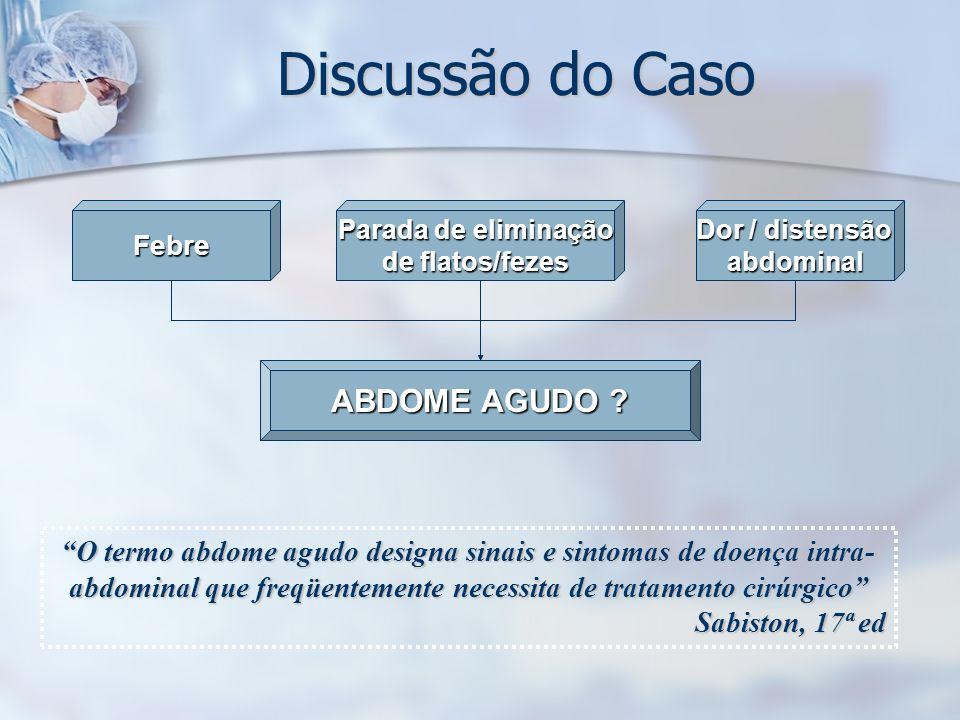 Discussão do Caso Febre Parada de eliminação de flatos/fezes ABDOME AGUDO ? Dor / distensão abdominal O termo abdome agudo designa sinais e sintomas d