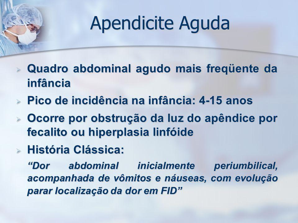 Apendicite Aguda Quadro abdominal agudo mais freqüente da infância Quadro abdominal agudo mais freqüente da infância Pico de incidência na infância: 4