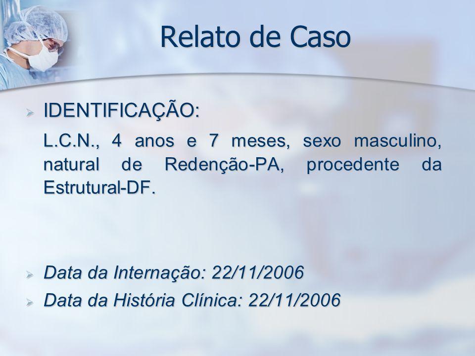 Relato de Caso 22/11/200623/11/200629/11/200601/12/200610/12/2006 Glicose--106-84 Uréia24-22-15 Creatinina0,7-0,5-0,6 Cálcio9,29,86,97,810 TGO10- -13 TGP6-9-10 Amilase13---- Sódio124127121124134 Potássio2,63,33,73,84,9 Cloreto93909694102 LDH755---634 PCR26--3,04- P.
