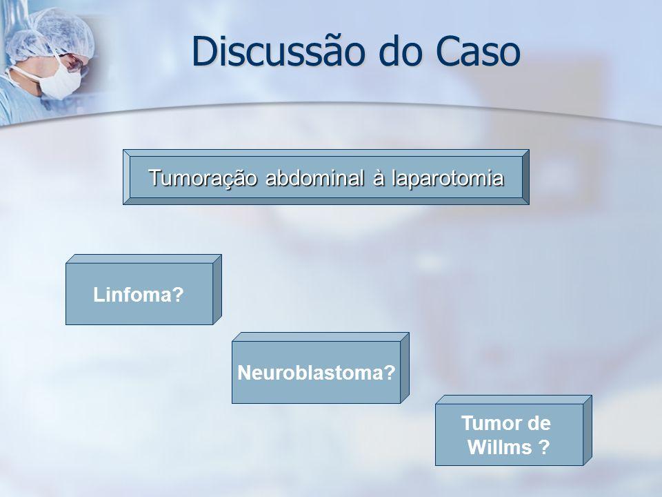 Discussão do Caso Linfoma? Tumoração abdominal à laparotomia Tumor de Willms ? Neuroblastoma?