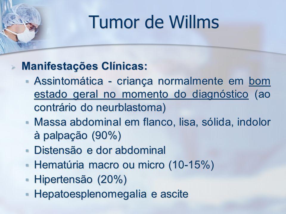 Tumor de Willms Manifestações Clínicas: Manifestações Clínicas: Assintomática - criança normalmente em bom estado geral no momento do diagnóstico (ao