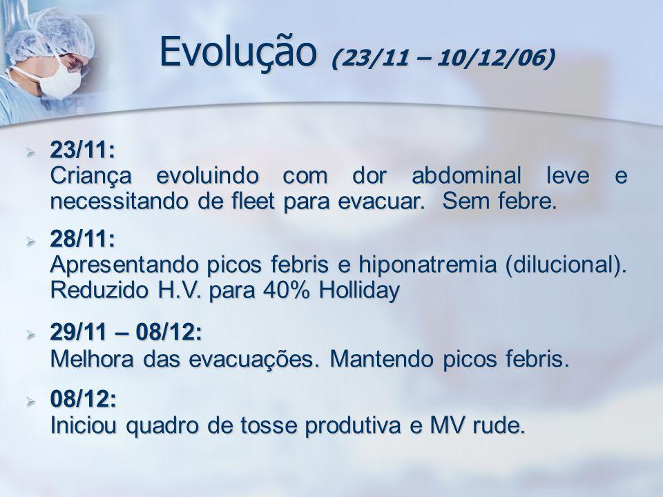 Evolução (23/11 – 10/12/06) 23/11: 23/11: Criança evoluindo com dor abdominal leve e necessitando de fleet para evacuar. Sem febre. 28/11: 28/11: Apre