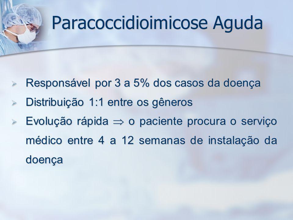 Paracoccidioimicose Aguda Responsável por 3 a 5% dos casos da doença Responsável por 3 a 5% dos casos da doença Distribuição 1:1 entre os gêneros Dist