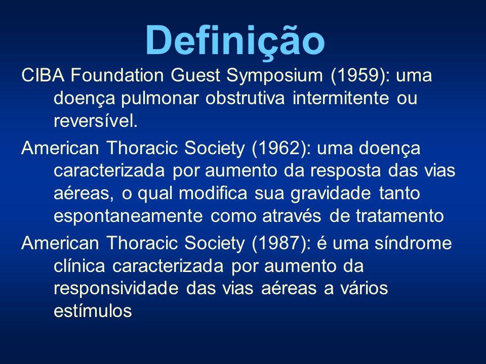 CIBA Foundation Guest Symposium (1959): uma doença pulmonar obstrutiva intermitente ou reversível. American Thoracic Society (1962): uma doença caract