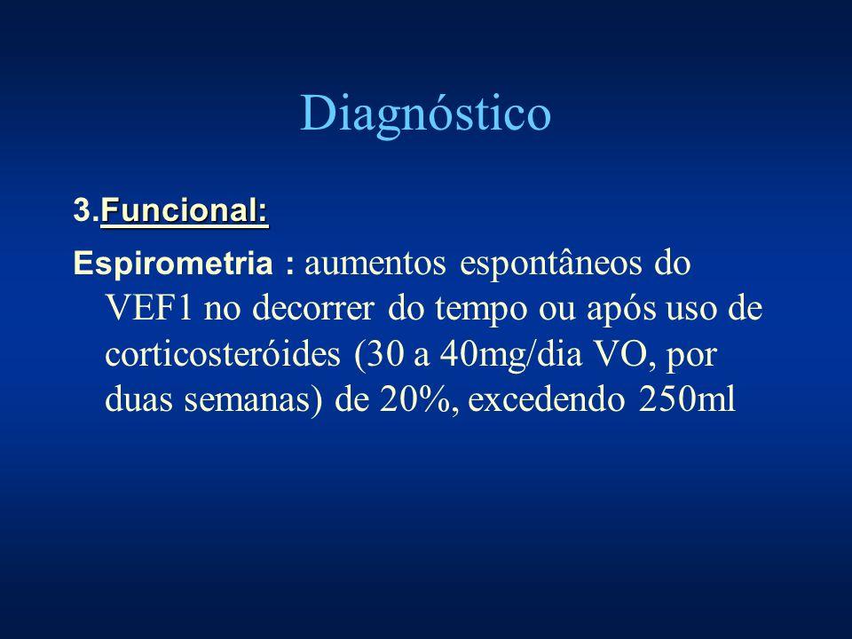 Diagnóstico Funcional: 3.Funcional: Espirometria : aumentos espontâneos do VEF1 no decorrer do tempo ou após uso de corticosteróides (30 a 40mg/dia VO