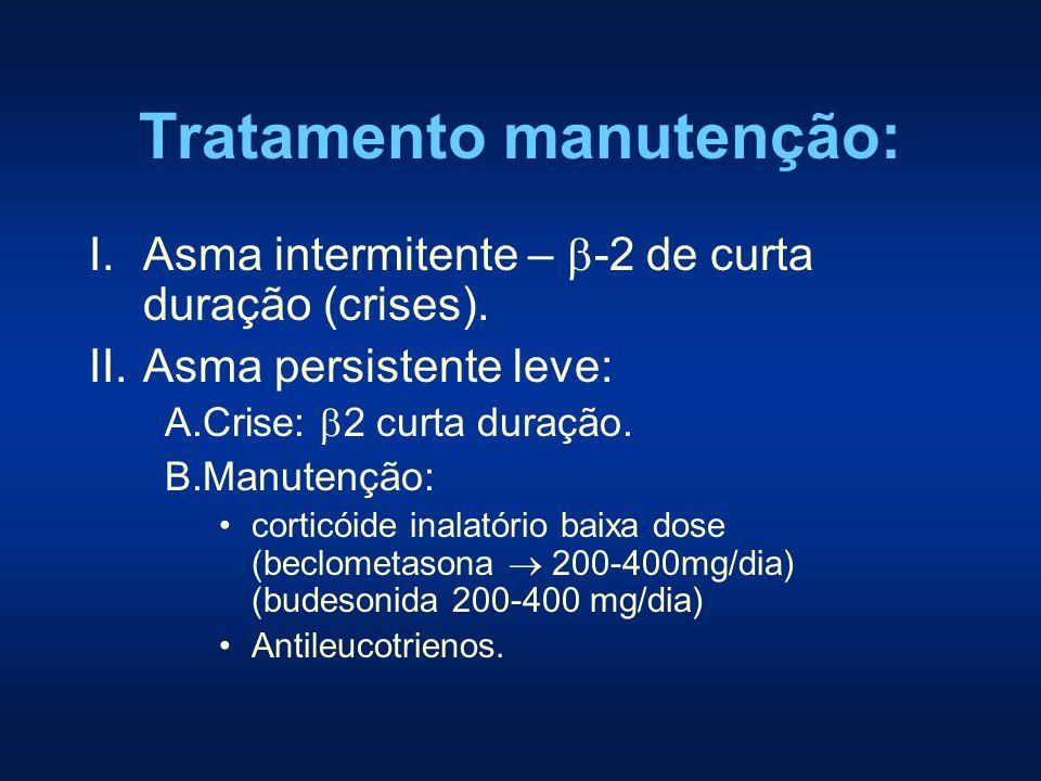 Tratamento manutenção: I.Asma intermitente – -2 de curta duração (crises). II.Asma persistente leve: A.Crise: 2 curta duração. B.Manutenção: corticóid