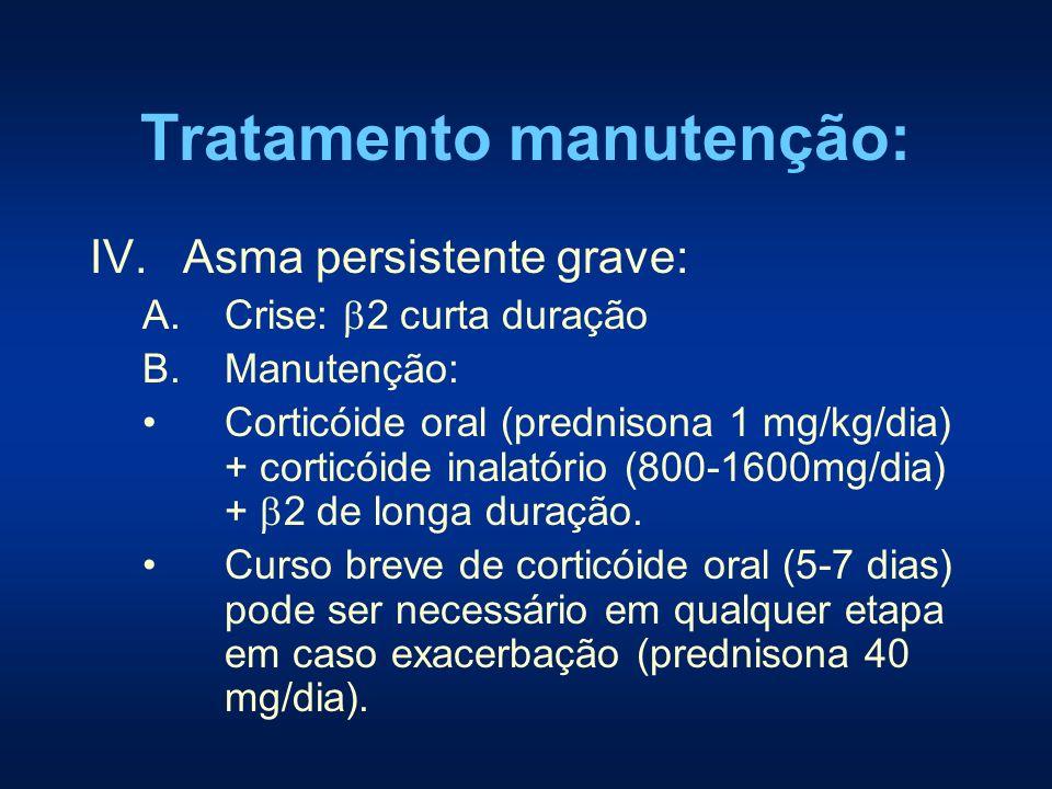 Tratamento manutenção: IV.Asma persistente grave: A.Crise: 2 curta duração B.Manutenção: Corticóide oral (prednisona 1 mg/kg/dia) + corticóide inalató