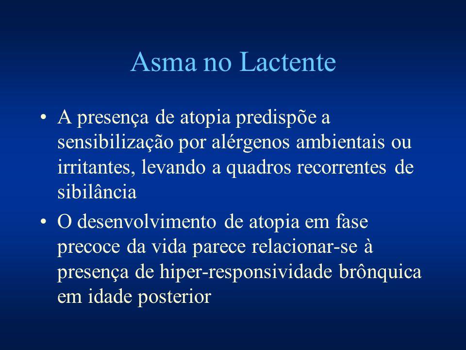 Asma no Lactente A presença de atopia predispõe a sensibilização por alérgenos ambientais ou irritantes, levando a quadros recorrentes de sibilância O