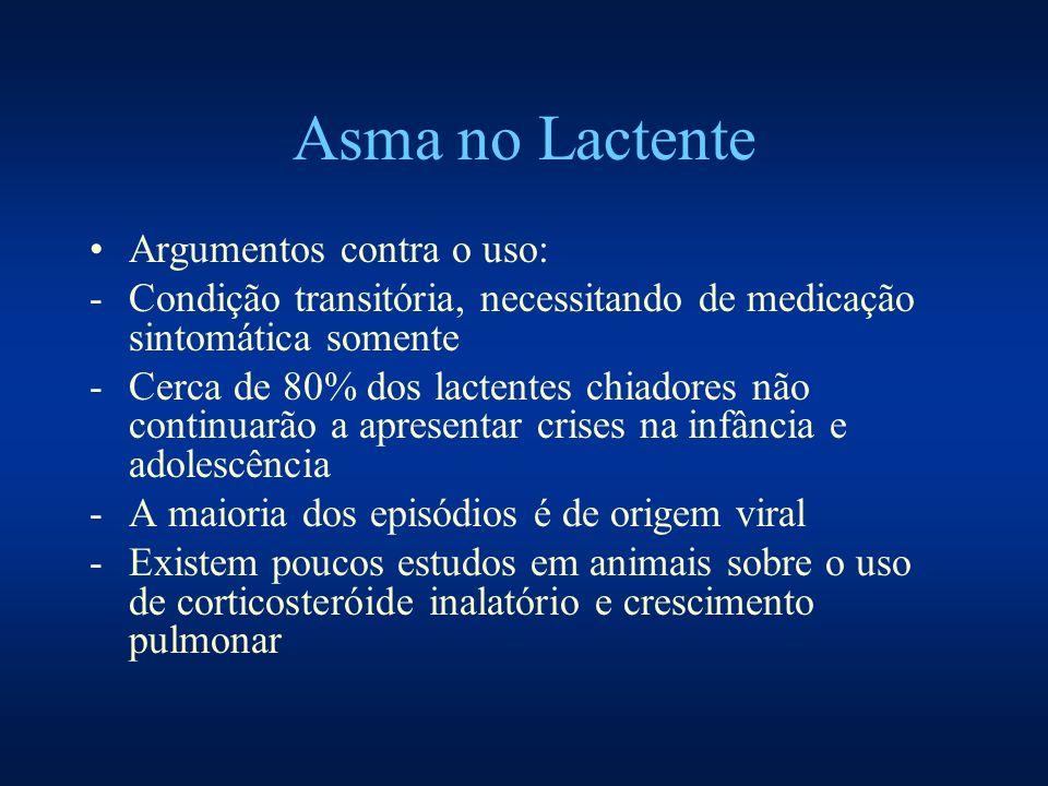 Asma no Lactente Argumentos contra o uso: -Condição transitória, necessitando de medicação sintomática somente -Cerca de 80% dos lactentes chiadores n