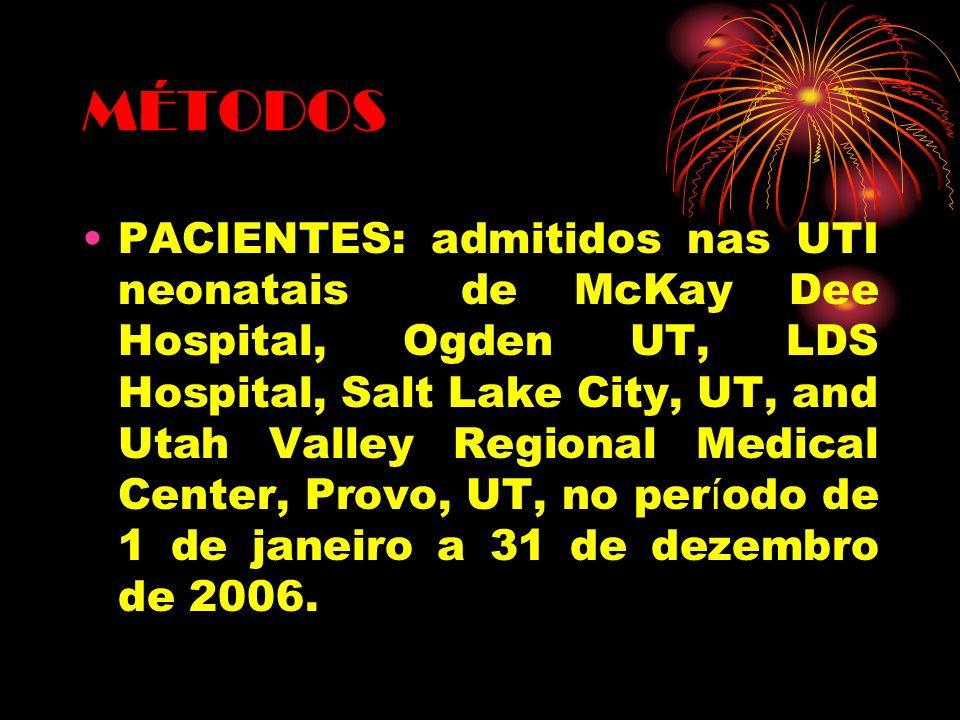MÉTODOS PACIENTES: admitidos nas UTI neonatais de McKay Dee Hospital, Ogden UT, LDS Hospital, Salt Lake City, UT, and Utah Valley Regional Medical Cen
