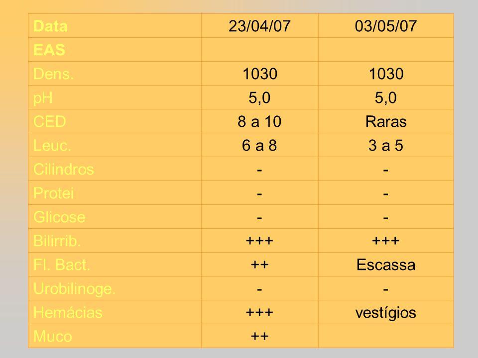 Data 23/04/0703/05/07 EAS Dens. 1030 pH 5,0 CED 8 a 10Raras Leuc. 6 a 83 a 5 Cilindros -- Protei -- Glicose -- Bilirrib. +++ Fl. Bact. ++Escassa Urobi