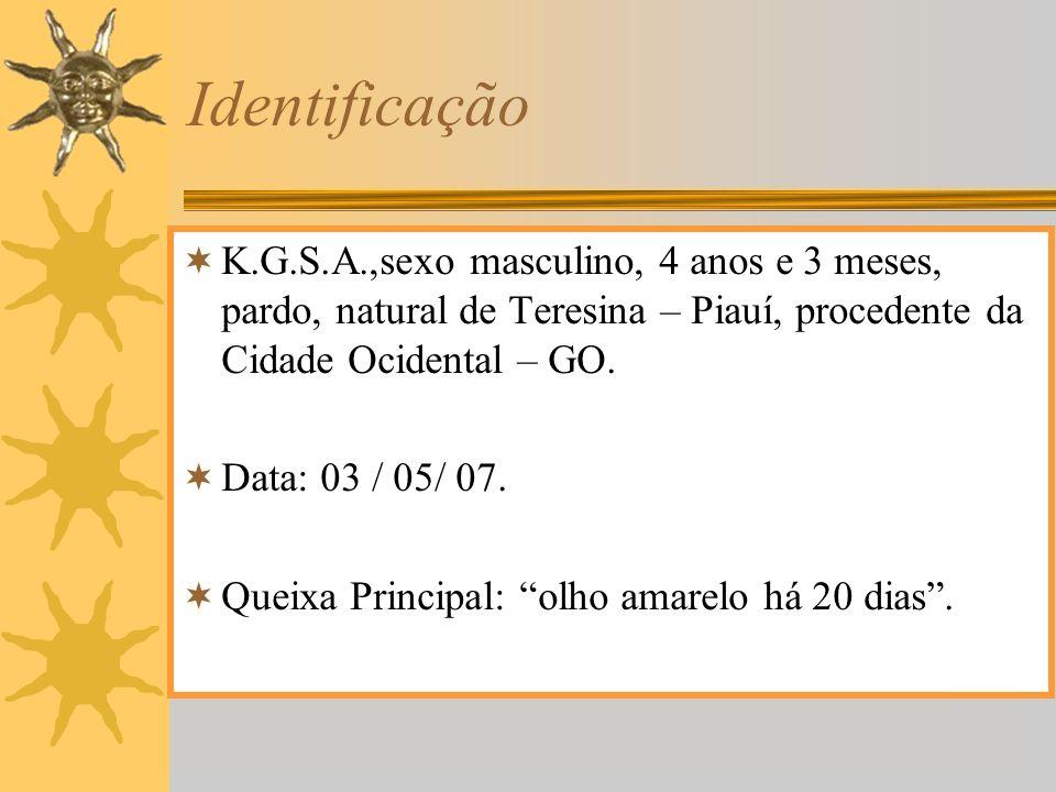 Identificação K.G.S.A.,sexo masculino, 4 anos e 3 meses, pardo, natural de Teresina – Piauí, procedente da Cidade Ocidental – GO. Data: 03 / 05/ 07. Q