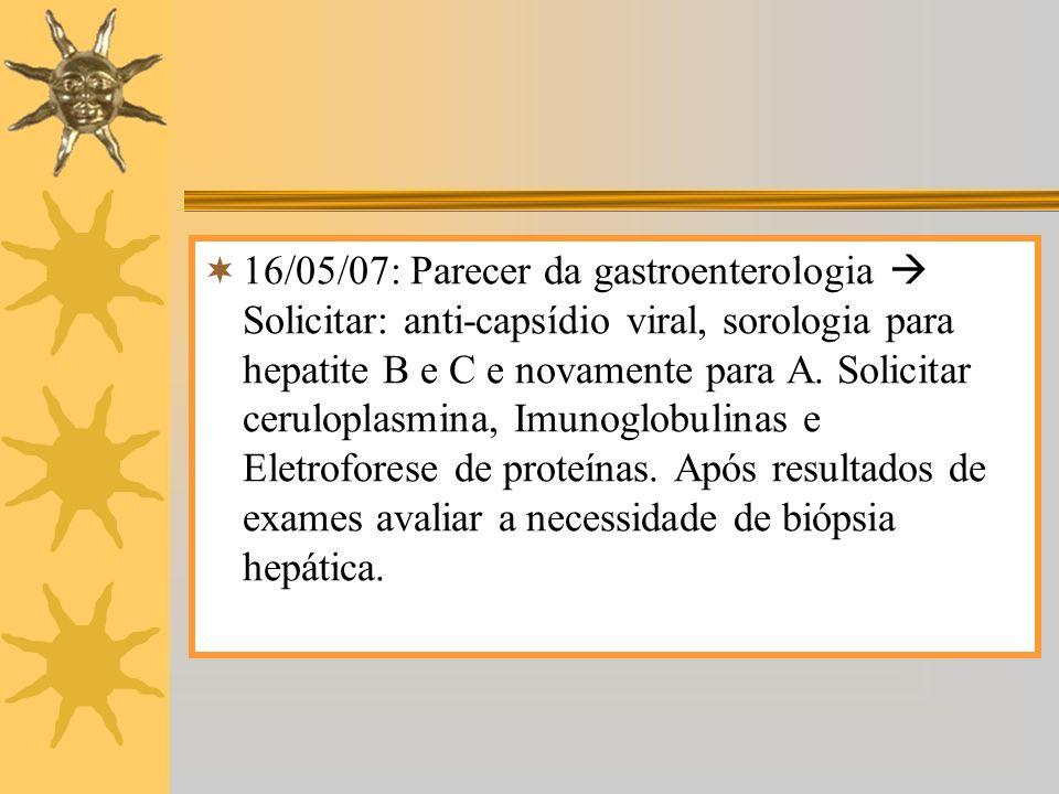 16/05/07: Parecer da gastroenterologia Solicitar: anti-capsídio viral, sorologia para hepatite B e C e novamente para A. Solicitar ceruloplasmina, Imu