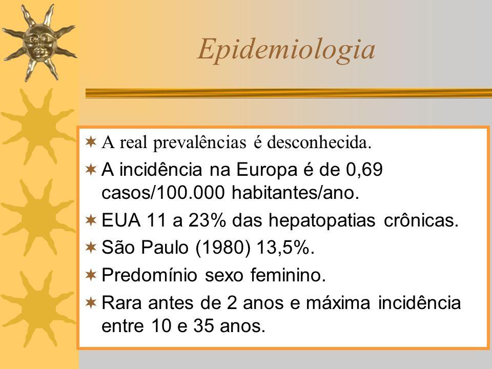 Epidemiologia A real prevalências é desconhecida. A incidência na Europa é de 0,69 casos/100.000 habitantes/ano. EUA 11 a 23% das hepatopatias crônica