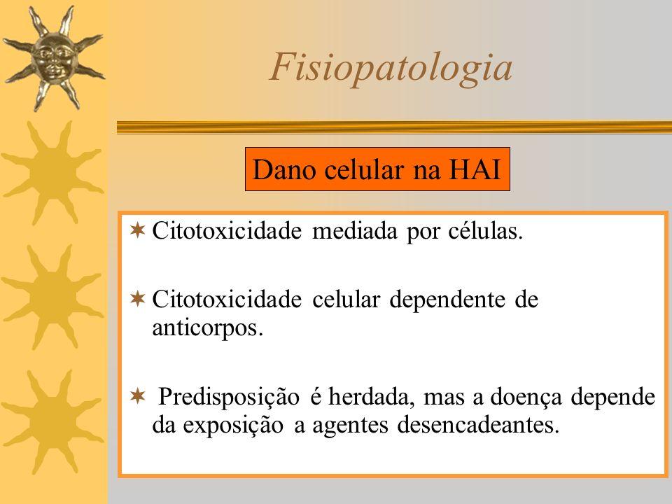 Fisiopatologia Citotoxicidade mediada por células. Citotoxicidade celular dependente de anticorpos. Predisposição é herdada, mas a doença depende da e