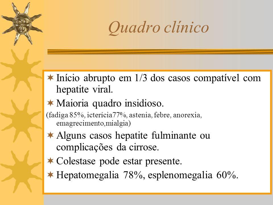 Quadro clínico Início abrupto em 1/3 dos casos compatível com hepatite viral. Maioria quadro insidioso. (fadiga 85%, icterícia77%, astenia, febre, ano