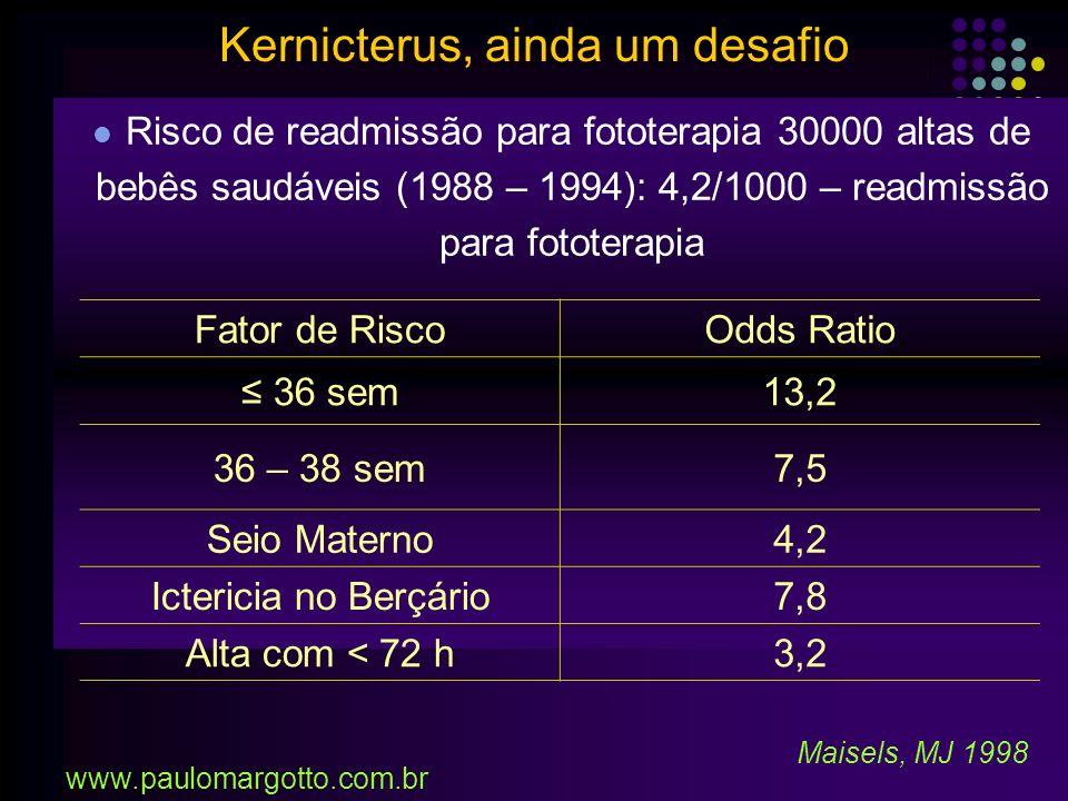 RN próximo do termo: 35, 36, 37 semanas Sistema de Conjugação de bilirrubina imatura Não se alimentam/vigorosamente (ingerem menos calorias) Risco de 5% para bilirrubinas > 20mg% x 1% (RN 40 sem) Se receberam alta com 48h: Revisão com 2 – 3 dias e não com 1 – 2 sem Newman (1999), Maisels (2002) Kernicterus, ainda um desafio www.paulomargotto.com.br