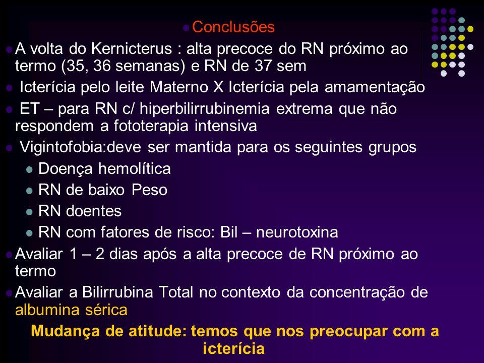 Causa da volta do Kernicterus (AAP, 2004) Deixar de diagnosticar a presença de icterícia clínica Deixar de medir a BT em RN ictéricos francos ou de instalar fototerapia na presença de niveis elevados Utilizar aparelhos de inadequados para fototerapia Deixar de utilizar bilirrubinômetros transcutâneos, de fácil manipulação por todos os profissionais de saúde envolvidos.