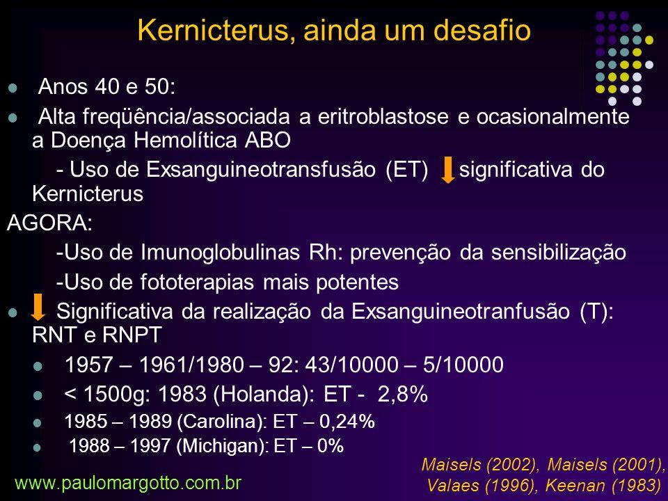 Nível de Bilirrubina Total Plasmática até 48 h (mg/dl) Nível de Bilirrubina Total Plasmática 96 h (mg/dl) Risco para DNIB* (segundo AAP**) FototerapiaExsanguineoFototerapiaExsanguineo Alto Risco (presença de risco para DNIB em RN de 35 – 37 sem IG) 11181519 Moderado Risco (35 – 37 sem IG sem risco de DNIB) 13201822,5 Baixo Risco (RN de termo sem risco para DNIB) 15222125 OS NÍVEIS DE BILIRRUBINA TOTAL SÉRICA QUE DEFINEM INTERVENÇÃO EM RNPT *DNIB: disfunção neurológica induzida pela bilirrubina **anemia hemolítica isoimune,deficiência de G6PD, significante letargia, sepses, acidose, asfixia, instabilidade de temperatura e albumina sérica <3g%