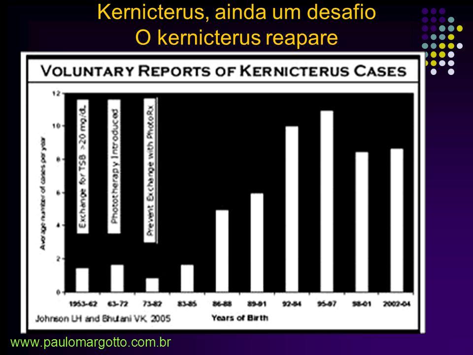 Anos 40 e 50: Alta freqüência/associada a eritroblastose e ocasionalmente a Doença Hemolítica ABO - Uso de Exsanguineotransfusão (ET) significativa do Kernicterus AGORA: -Uso de Imunoglobulinas Rh: prevenção da sensibilização -Uso de fototerapias mais potentes Significativa da realização da Exsanguineotranfusão (T): RNT e RNPT 1957 – 1961/1980 – 92: 43/10000 – 5/10000 < 1500g: 1983 (Holanda): ET - 2,8% 1985 – 1989 (Carolina): ET – 0,24% 1988 – 1997 (Michigan): ET – 0% Maisels (2002), Maisels (2001), Valaes (1996), Keenan (1983) Kernicterus, ainda um desafio www.paulomargotto.com.br
