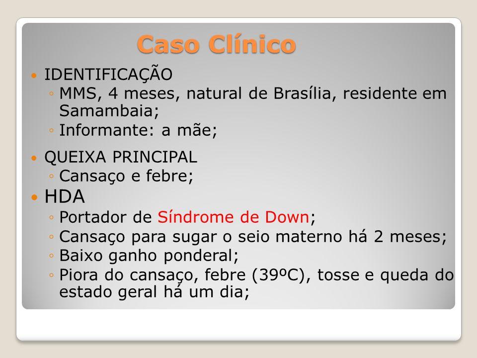 Caso Clínico IDENTIFICAÇÃO MMS, 4 meses, natural de Brasília, residente em Samambaia; Informante: a mãe; QUEIXA PRINCIPAL Cansaço e febre; HDA Portado