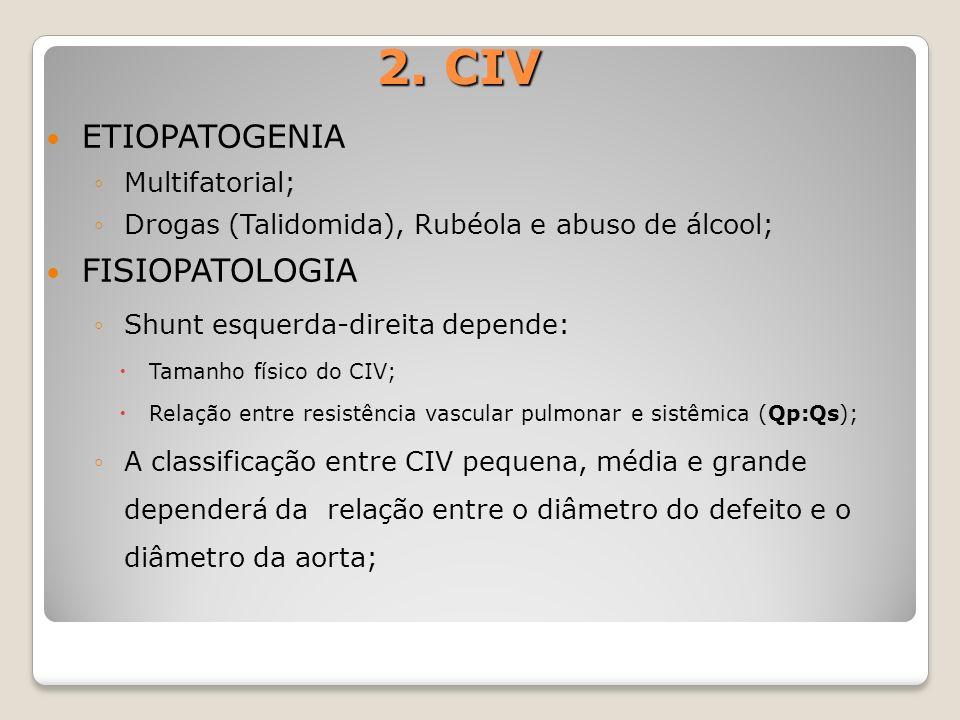 2. CIV ETIOPATOGENIA Multifatorial; Drogas (Talidomida), Rubéola e abuso de álcool; FISIOPATOLOGIA Shunt esquerda-direita depende: Tamanho físico do C