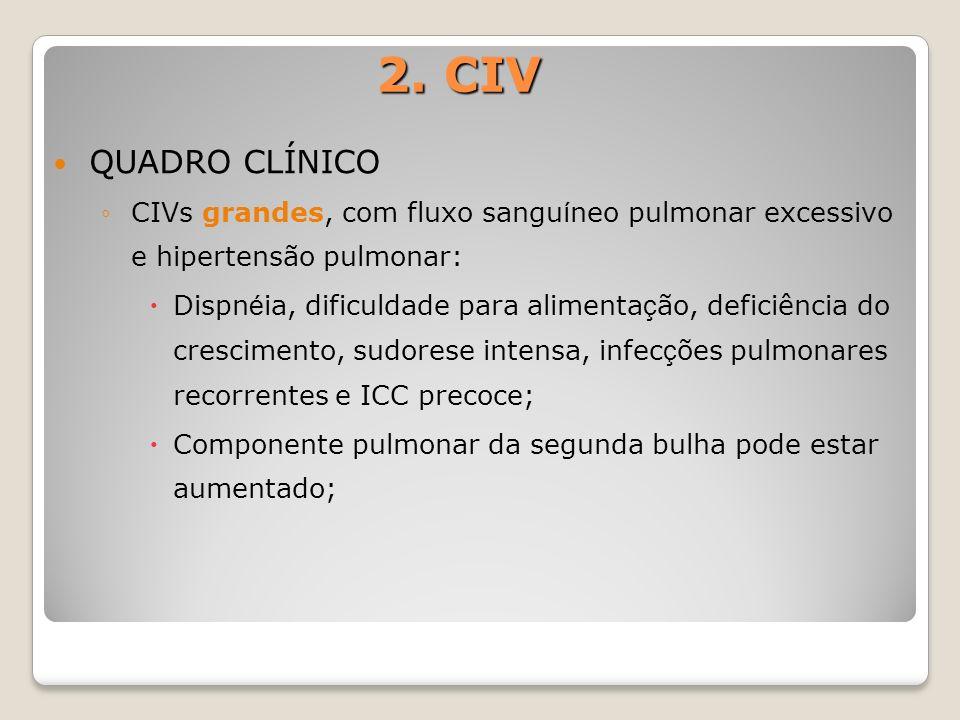 2. CIV QUADRO CLÍNICO CIVs grandes, com fluxo sangu í neo pulmonar excessivo e hipertensão pulmonar: Dispn é ia, dificuldade para alimenta ç ão, defic