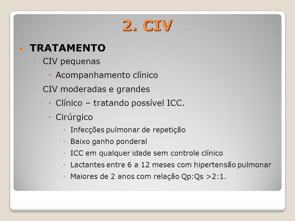 2. CIV TRATAMENTO CIV pequenas Acompanhamento clínico CIV moderadas e grandes Clínico – tratando possível ICC. Cirúrgico Infecções pulmonar de repetiç
