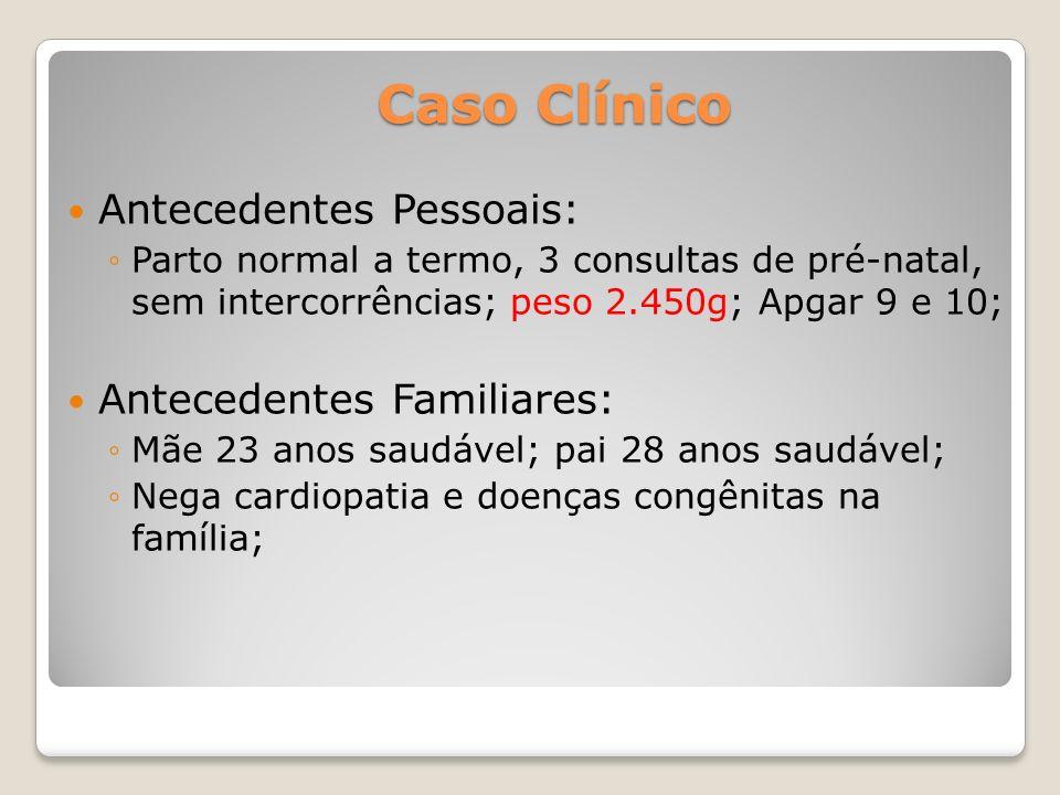 Caso Clínico Antecedentes Pessoais: Parto normal a termo, 3 consultas de pré-natal, sem intercorrências; peso 2.450g; Apgar 9 e 10; Antecedentes Famil