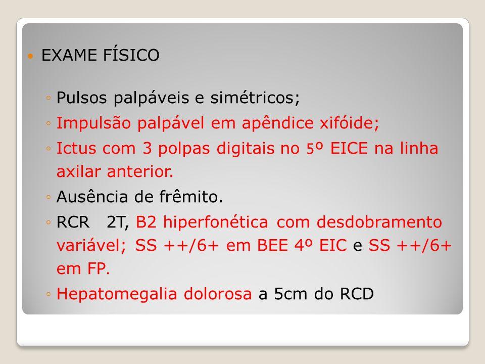 EXAME FÍSICO Pulsos palpáveis e simétricos; Impulsão palpável em apêndice xifóide; Ictus com 3 polpas digitais no 5º EICE na linha axilar anterior. Au