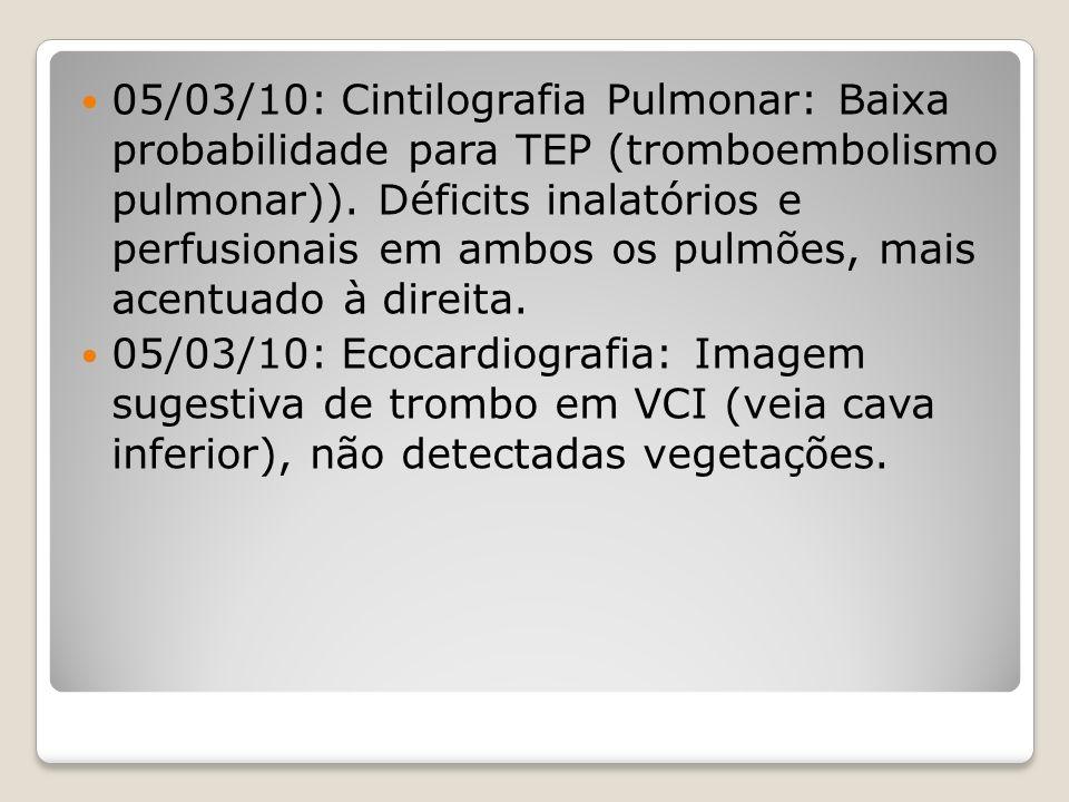 05/03/10: Cintilografia Pulmonar: Baixa probabilidade para TEP (tromboembolismo pulmonar)). Déficits inalatórios e perfusionais em ambos os pulmões, m