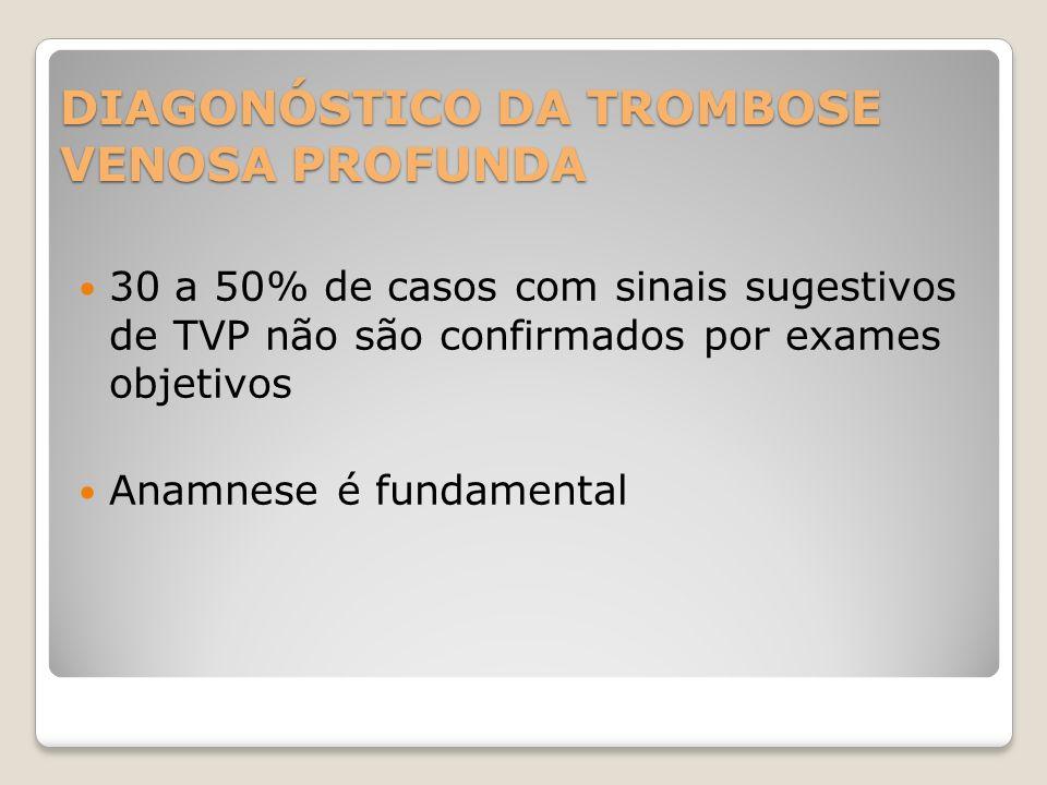 DIAGONÓSTICO DA TROMBOSE VENOSA PROFUNDA 30 a 50% de casos com sinais sugestivos de TVP não são confirmados por exames objetivos Anamnese é fundamenta